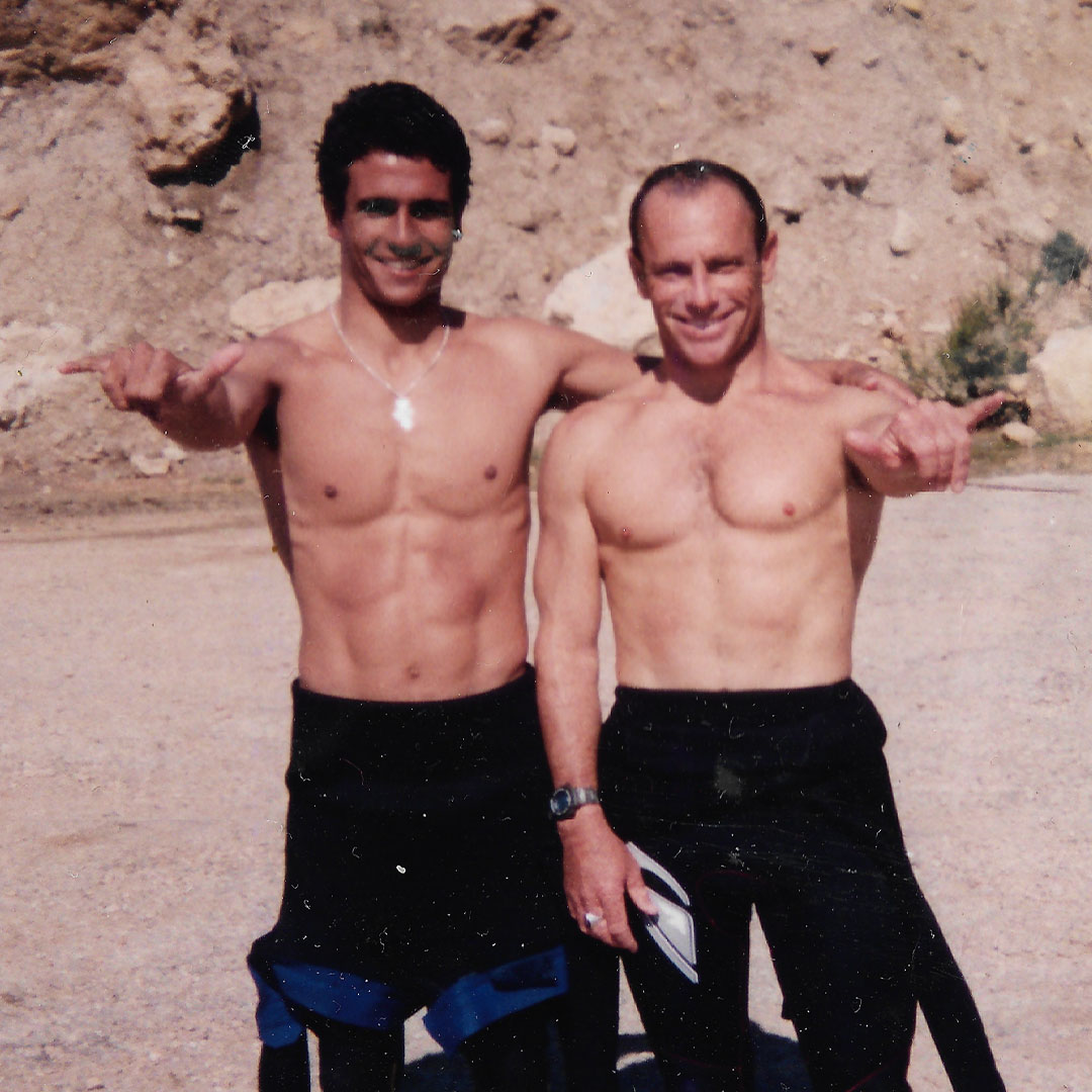 Franito con Tom Carrol, Surfcamp, Marruecos 1997