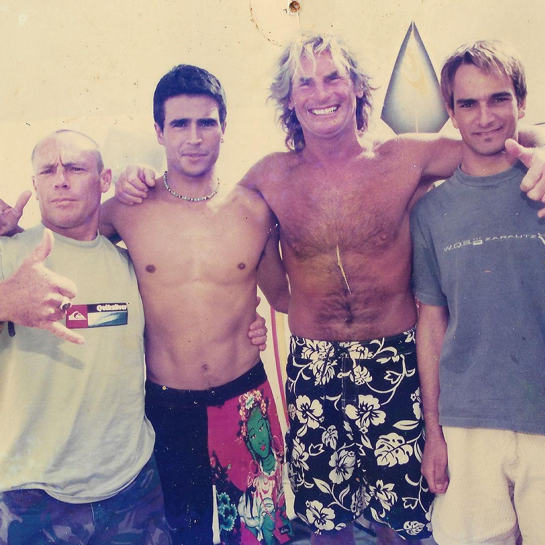 Carrol, Franito, Rob, (entrenador team internacional), Surfcamp, 2000 Hossegor